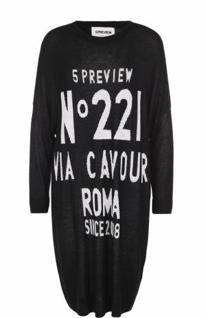 Вязаное платье прямого кроя с контрастной надписью 5PREVIEW. Цвет: черный