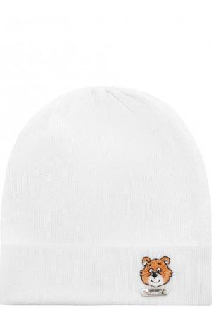 Хлопковая шапка с вышивкой Il Trenino. Цвет: белый