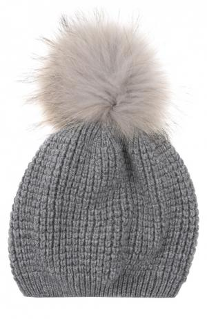 Кашемировая шапка с помпоном из меха енота Kashja` Cashmere. Цвет: серый