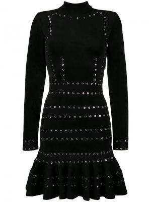 Платье с длинными рукавами и заклепками Alexander McQueen. Цвет: чёрный