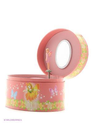 Музыкальная шкатулка с фигуркой в форме овала Jakos. Цвет: красный, розовый, горчичный, белый, голубой