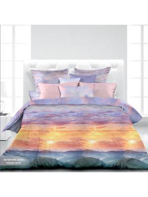 Комплект постельного белья Евро биоматин Вечерние зори Унисон. Цвет: светло-голубой, сиреневый