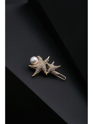 Заколка для волос Звездный дуэт с жемчужиной и камнями, 4,5х3,5 см Nothing but Love. Цвет: золотистый, белый