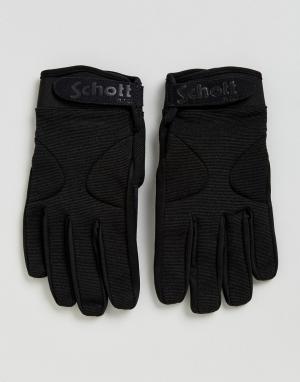 Schott Черные нейлоновые перчатки с флисовой подкладкой. Цвет: черный