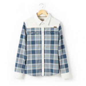 Рубашка с длинными рукавами в клетку на 10-16 лет R teens. Цвет: в клетку/синий