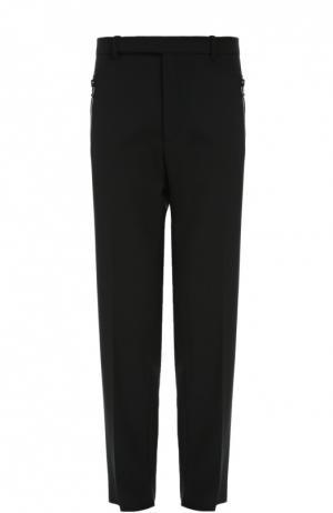 Шерстяные брюки свободного кроя с карманами на молнии Balenciaga. Цвет: черный