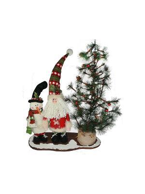 Новогодняя композиция С Новым Годом подсветкой Русские подарки. Цвет: красный, белый, зеленый