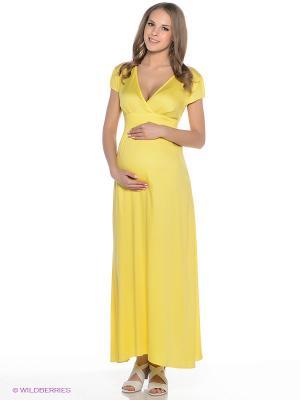 Платье для беременных ФЭСТ. Цвет: желтый