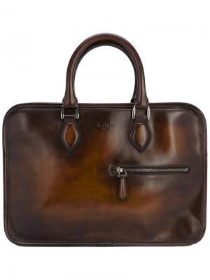 Портфель с потертой отделкой Berluti. Цвет: коричневый