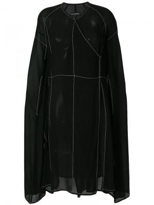 Полупрозрачное платье со строчкой Ivan Grundahl. Цвет: чёрный
