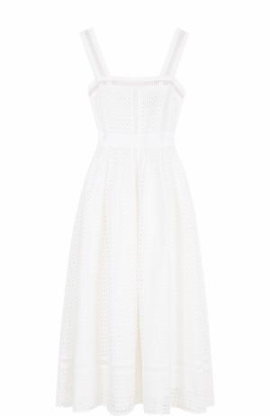 Приталенное кружевное платье-миди Tara Jarmon. Цвет: белый