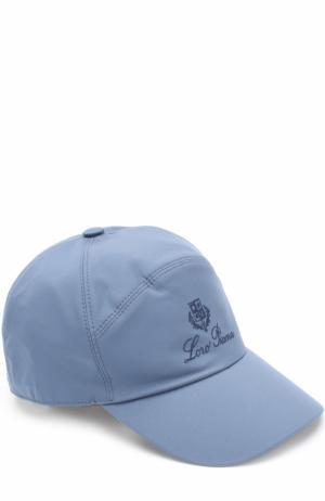 Бейсболка с логотипом бренда Loro Piana. Цвет: голубой
