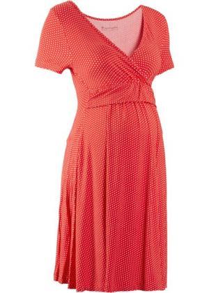 Мода для беременных и кормящих мам: трикотажное платье-стретч с коротким рукавом (клубничный/белый в горошек) bonprix. Цвет: клубничный/белый в горошек