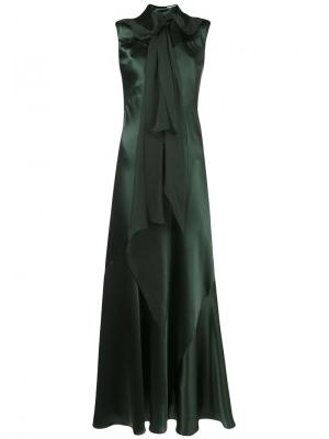 Приталенное платье с платком Olivier Theyskens. Цвет: зелёный