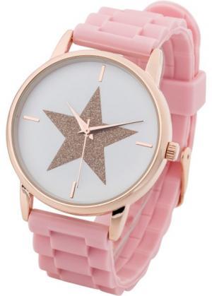 Наручные часы на силиконовом браслете (розовый жемчуг) bonprix. Цвет: розовый жемчуг