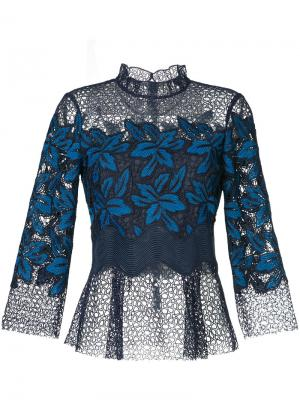 Кружевная блузка Mosaic Sea. Цвет: синий