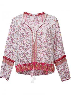 Блузка с цветочной вышивкой Poupette St Barth. Цвет: розовый и фиолетовый