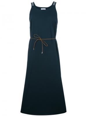 Расклешенное платье с завязками на талии Fabiana Filippi. Цвет: синий