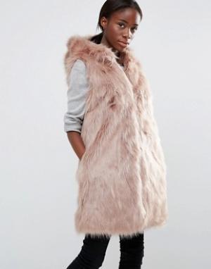 Parka London Жилет из искусственного меха с капюшоном Pheobe. Цвет: розовый