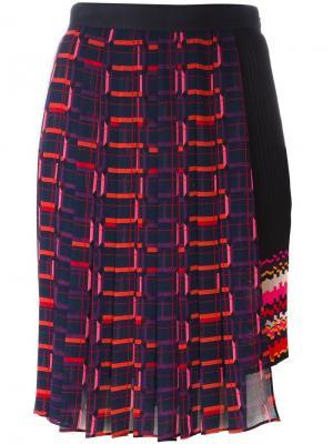 Асимметричная юбка с плиссировкой Steve J & Yoni P. Цвет: синий