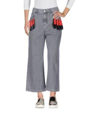 Джинсовые брюки-капри AU JOUR LE. Цвет: серый