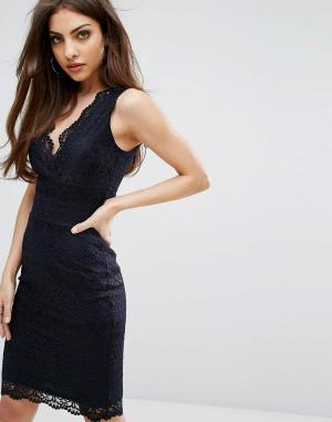Lipsy Облегающее кружевное платье миди. Цвет: темно-синий