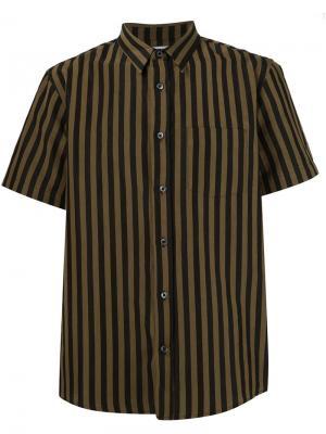 Полосатая рубашка с короткими рукавами Second/Layer. Цвет: чёрный