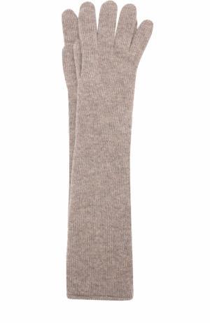 Удлиненные перчатки из кашемира Johnstons Of Elgin. Цвет: темно-бежевый