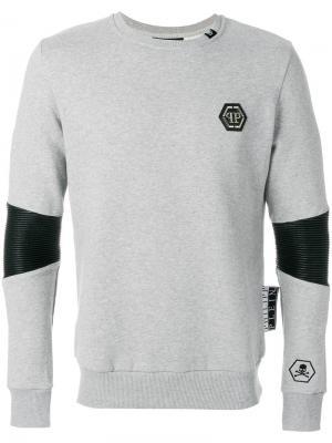 Толстовка с логотипом Philipp Plein. Цвет: серый