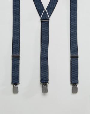 Peter Werth Темно-синие жаккардовые подтяжки. Цвет: синий