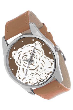 Часы Медведь на коричневом MITYA VESELKOV. Цвет: коричневый, белый
