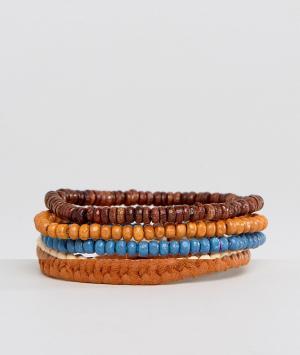 ASOS Набор браслетов из бусин (красный/коричневый). Цвет: мульти
