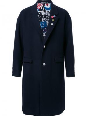 Однобортное пальто Doublet. Цвет: синий