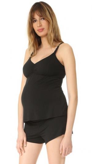 Майка для беременных с вшитым бюстгальтером кормления Ingrid & Isabel. Цвет: голубой