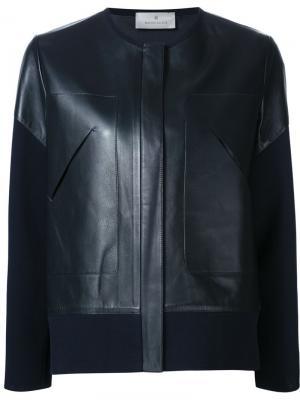 Кожаная куртка с трикотажными рукавами Maison Ullens. Цвет: синий