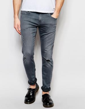 D.I.E Серые супероблегающие джинсы . Smoke. Цвет: серый