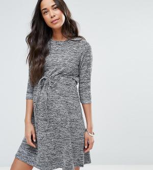 ASOS Maternity Домашнее меланжевое платье для беременных со шнурком. Цвет: серый
