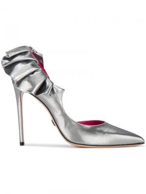 Туфли Adele 110 с оборками Oscar Tiye. Цвет: металлический