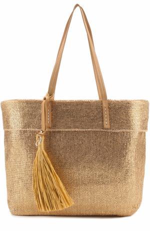 Металлизированная сумка-шоппер Deha. Цвет: золотой