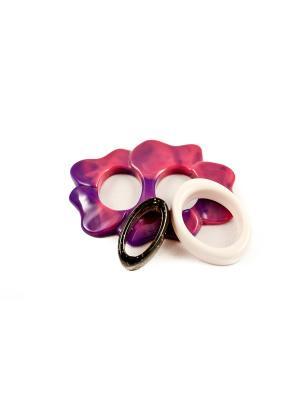 Пряжка Волшебная пуговица Лилия и кольцо для шарфа madam Пряжкина. Цвет: черный, белый, малиновый
