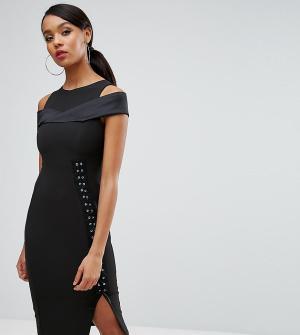 Vesper Платье-футляр с вырезами на плечах и шнуровкой сбоку. Цвет: черный