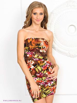 Платье NikiBiki. Цвет: салатовый, коричневый, рыжий