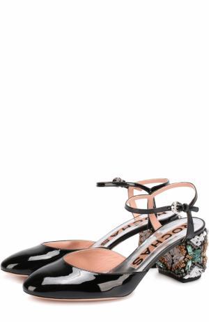 Лаковые туфли на декорированном каблуке Rochas. Цвет: черный