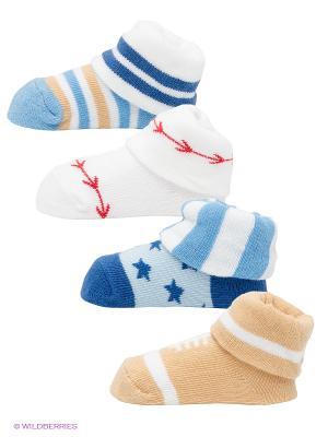 Носки, 4 пары Luvable Friends. Цвет: бежевый, белый