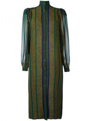 Полосатое платье-рубашка Jean Louis Scherrer Vintage. Цвет: зелёный