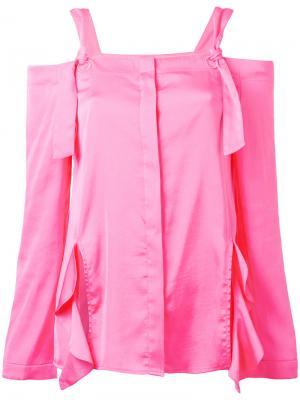 Блузка с открытыми плечами и оборками Sjyp. Цвет: розовый и фиолетовый