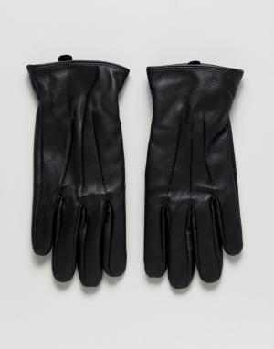 Jack & Jones Кожаные перчатки. Цвет: черный