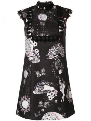 Платье с цветочным принтом Giamba. Цвет: чёрный