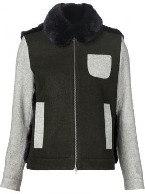 Куртка с панелью из искусственного меха Arthur Arbesser. Цвет: зелёный