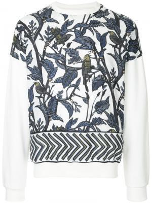 Leaf printed sweatshirt Yoshiokubo. Цвет: белый